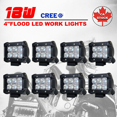 8X 4inch 18W CREE Flood LED Work Light Bar Offroad 4WD ATV SUV Fog Driving Lamp
