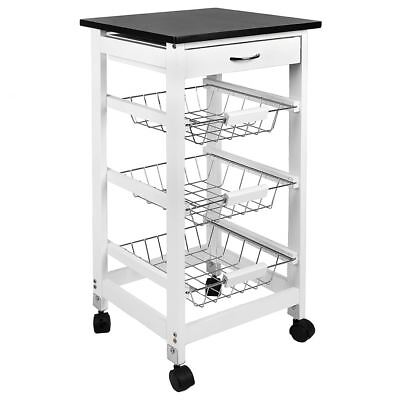 3 TIER KITCHEN TROLLEY White Storage Portable Cart Basket Storage Home Rack