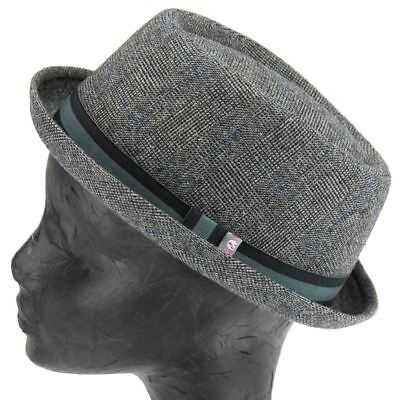 Pork Pie Hat Rude Boy Ska Light Grey Tweed Retro Heisenberg