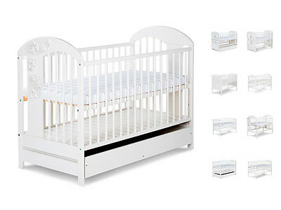 BABY CHILD CLASSIC WHITE WOODEN COT BED WITH FREE MATTRESS 120x60cm