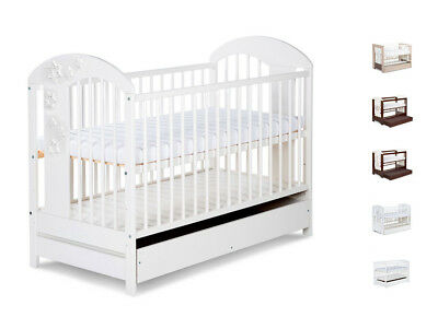 BABY CHILD WOODEN COT BED WITH DRAWER + FREE MATTRESS 120x60 cm