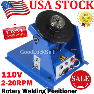 3 Jaw Lathe Chuck 2-20RPM Rotary Welding Welder Positioner Turntable 10KG 110V Y