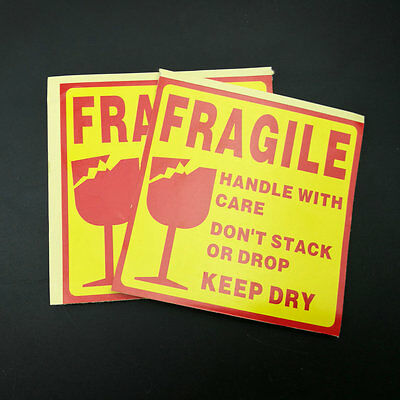 FRAGILE Handle with Care Shipping Label Sticker Keep Dry Packing Sticker 10X10cm