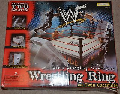 WWE Jakks action figure WRESTLING RING toy playset STEEL CAGE & BOX WWF ROH NJPW