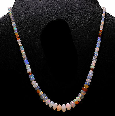 AAA Natural Ethopial White Fire Opal String Neckless 56 Ct Loose Beads Jewelry