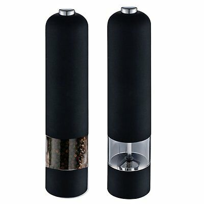 Black Electric Salt and Pepper Mill Grinder Battery Operated Kitchen Tool Home