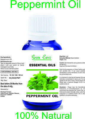 Peppermint Oil 100% Natural Pure Undiluted Uncut Essential Oils 5Ml - 100Ml