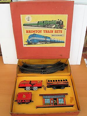 Vintage BRIMTOY TRAIN SET No 357 Boxed COMPLETE 10 Pieces 1950s