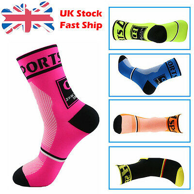 Pair Unisex Cycling breathable Socks Outdoor Sports Hiking Bicycle Footwear UK E