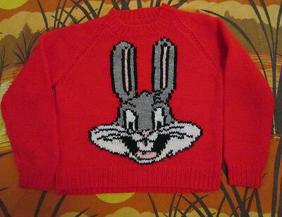 vtg BUGS BUNNY SWEATER red looney tunes shirt MUST SEE