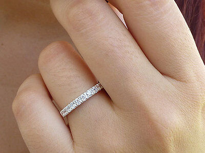 WHITE TOPAZ STACK ETERNITY RING 925 SOLID STERLING SILVER Size S / 9