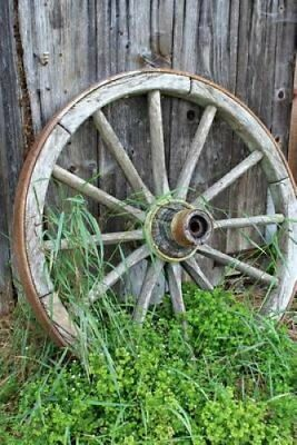 A Vintage Old Wooden Wagon Wheel Leaning Against a Wall Journal... 9781536917604