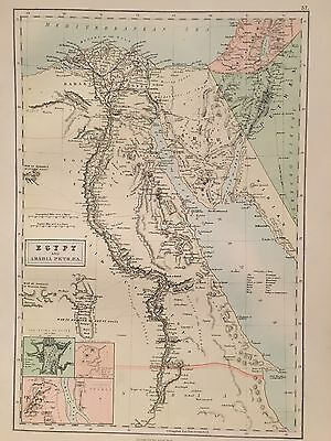 1882 Egypt By A & C Black Coloured Antique Map 134 Years Old