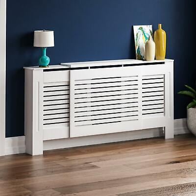 Milton Radiator Cover Adjustable White MDF Modern Grill Guard Cover Shelf