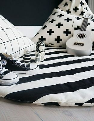 Black and White Striped & Cross Play Mat  Childrens Bedroom Nursery
