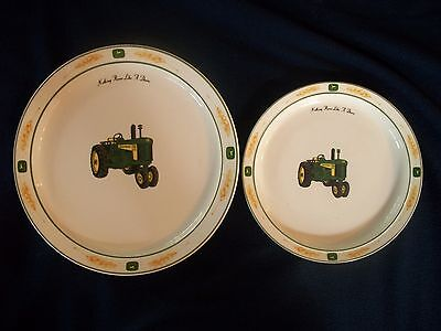 "John Deere Tractor Dinner & Salad Plate  ""Nothing Runs Like a Deere Wheat Gibson"