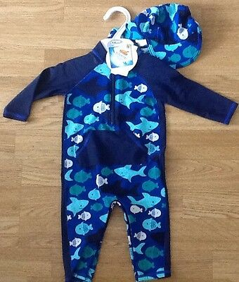 M&s 2 Piece Swimming  Costume / Sunsuit & Hat Upf 40+ Size 12 - 18 Months Bnwt