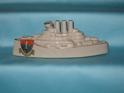 Carlton China WW1 Three Funnel Battleship* - WESTCLIFF ON SEA crest