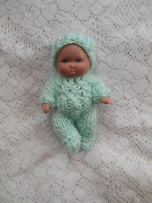 """Doll Clothes Green Hand Knitted Sleeper set footed for Berenguer Baby 5"""" ooak 6"""""""