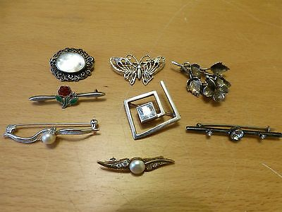 Lof of 8 Vintage SILVER Brooches. Interesting Lot