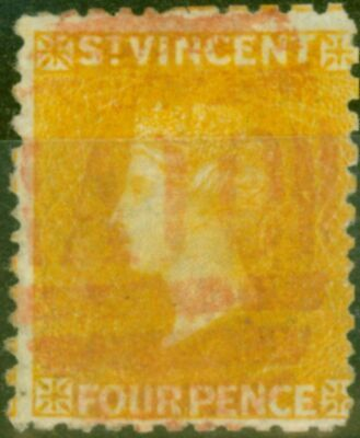 St Vincent 1869 4d Yellow SG12 Fine Used