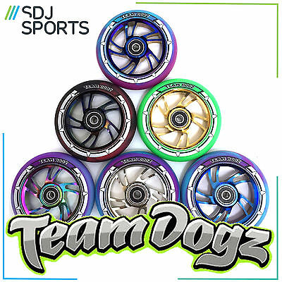 TEAM DOGZ 100mm 110mm or 120mm SCOOTER WHEEL SWIRL CORE COLOUR TYRE ABEC BEARING