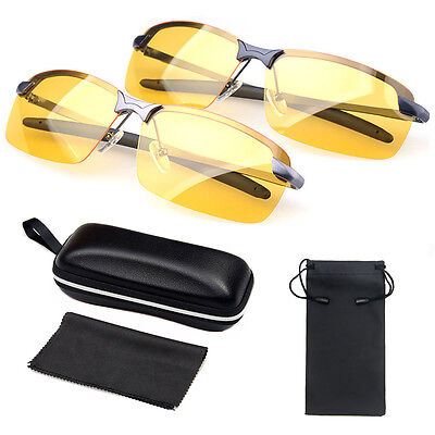 Sunglasses Mens HD Polarized Anti Glare Night Driving Glasses Gents Yellow Lens