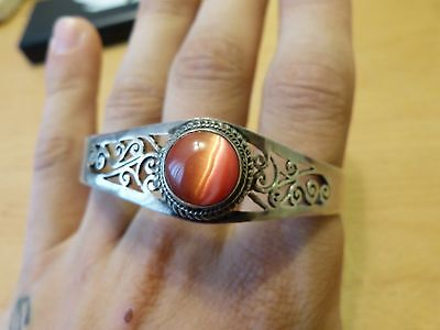 Unusual SILVER Bracelet Bangle With Red Stone
