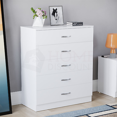 Riano 5 Drawer Chest White Wood Dresser Bedroom Storage Furniture Unit
