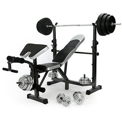 Home Multi Gym Weight Bench Arm Leg Curl Equipment Fitness Strength Training Nr