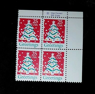 Old zip Block 2515! Mint MNH US Stamps! Christmas tree 1990!