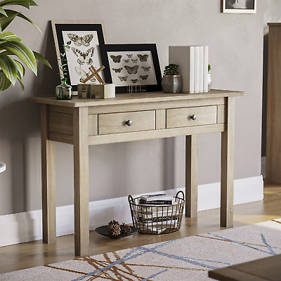 PANAMA CONSOLE TABLE 2 Drawer Solid Waxed Pine Rustic Dressing Writing Unit