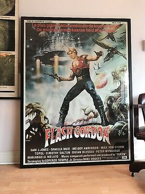 Enormous Original FLASH GORDON Film Poster Framed Very Rare FREE UK P&P