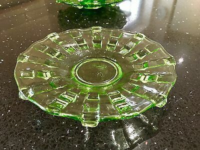 Vintage Glass Green Fruit Plate Dish - Chunky Thick & Thin Bands - Art Deco Era