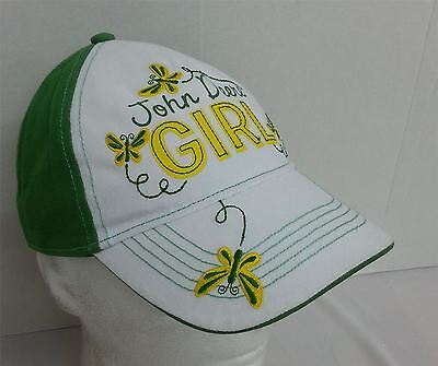 JOHN DEERE Childrens Green/White Girl Logo Junior Adjustable Baseball Cap