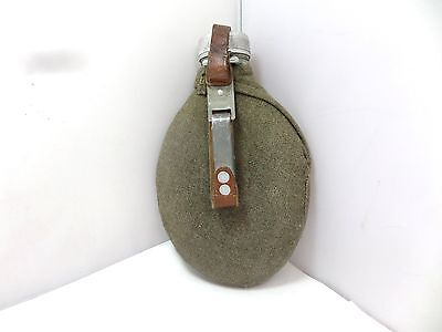 Original Swedish Army Water Bottle Hip Flask With Felt Cover And Leather Carryin