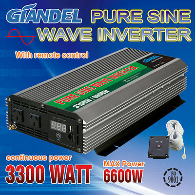 Large Shell Pure Sine Wave Power Inverter 3300W/6000W Max12V-240V+Remote Control