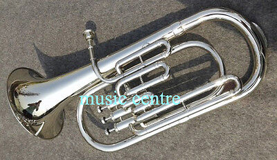 Baritone Horn Made Of Pure Brass With Free Case Box And Mouthpiece Chrome Polish