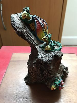 Rare Carol  Lynn Penny Dragon Genesis Creations With 3 Baby Dragons On Rock