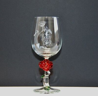 Beauty and the Beast wine Glass with Rose by Arribas Brothers (2635)