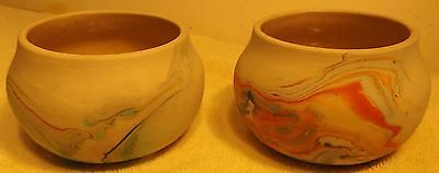 "Two Vintage Beautiful Nemadji Pottery Vases Bulbous Shape 3"" Tall by 5"" in dia"
