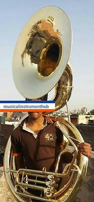 """Sousaphone Big Size 25"""" Bell In Gold Polish Of Pure Brass + Free Case +Free Ship"""