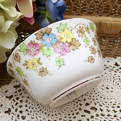 TUSCAN PLANT CHINA 1930s ART DECO SUGAR BOWL PINK YELLOW BLUE FLORAL GILD C6192