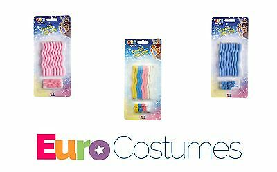 Zig Zag Curly Wavy Birthday Cake Candles Pack of 8 + Holders 3 Colours Party