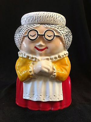 Vtg McCoy Pottery Granny Cookie Jar w Lid Glasses & Red Dress 10.5in Tall