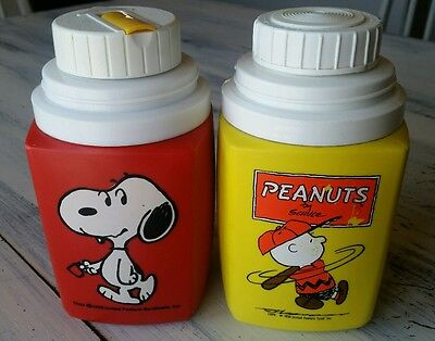 Vintage Peanuts Thermos Lot of 2 Charlie Brown Snoopy Peanuts Characters