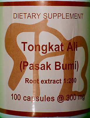 TONGKAT ALI 1:200 300 mg PURE EXTRACT 100 CAPS SUMATRA PASAK BUMI