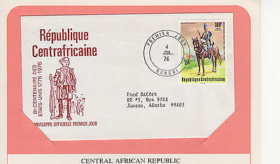 Central African Republic -   Us Bicentennial Fdc With Display Page - 1976