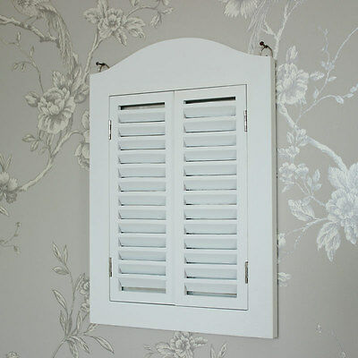 White wooden wall mounted shutter mirror shabby vintage chic home bedroom gift