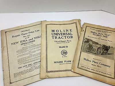 Vintage Part Catalog NEW IDEA and NISCO Spreaders & Moline Plow Company